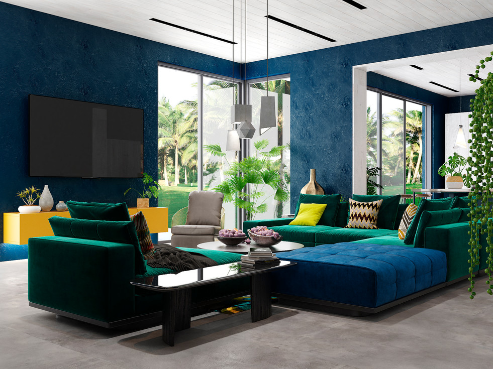 Very bright interior of the villa, made by our studio on the island of Reunion