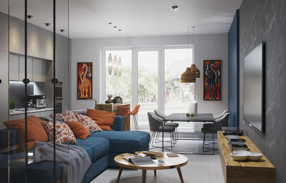 Design project of an apartment on the island of Mauritius, a very interesting bright interior