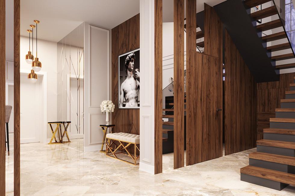 Design project of a luxury villa in art deco style