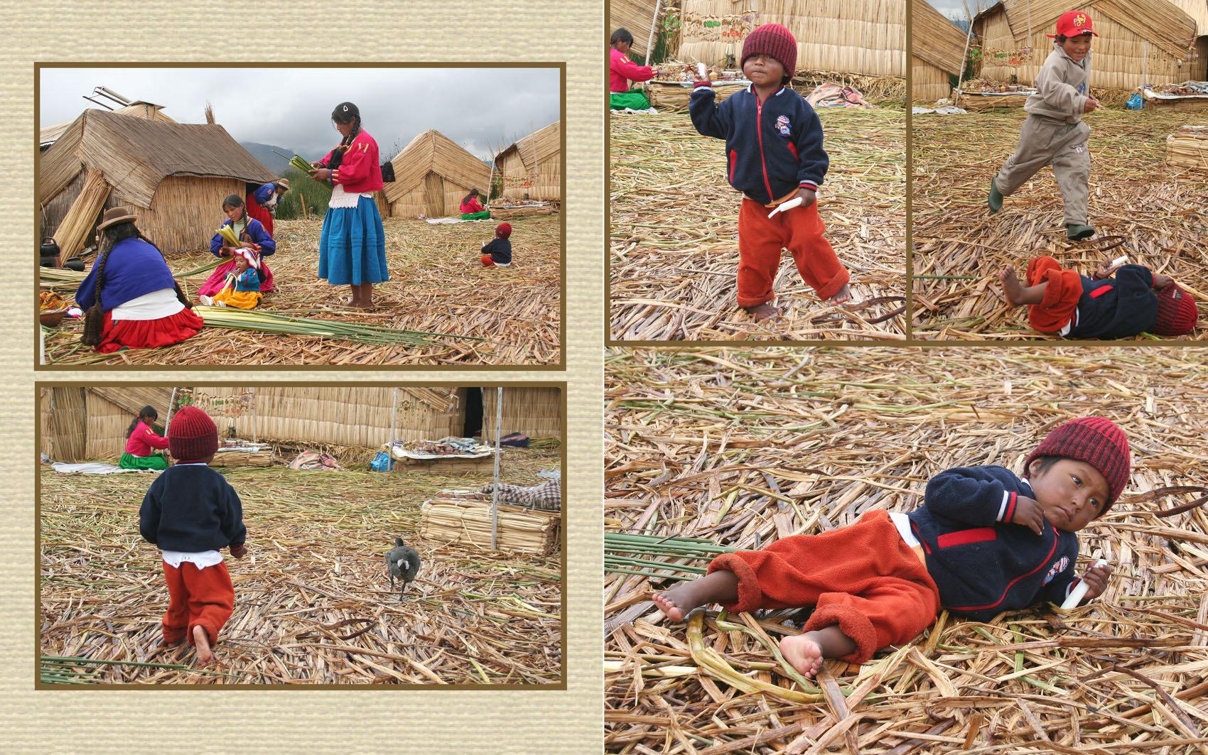 Titicaca järvi Kaislasaaren lapset.