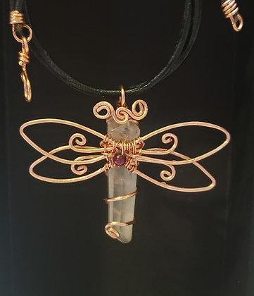 Quartz point Butterfly Necklace