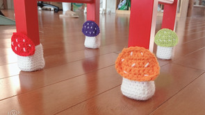 Crochet mushroom chair socks