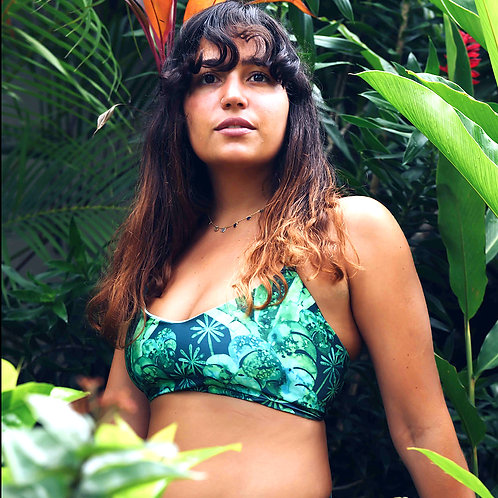 Sustainable Funkini Monstera Party reversible top