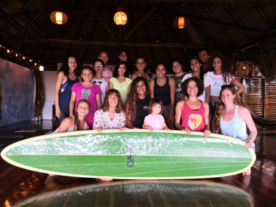 Dry Land surf workshop at Sansara Resort with ambassador coach Alexandra Correa