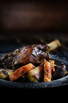Balsamic Glaze Roasted Lamb Shank and Root Vegetables