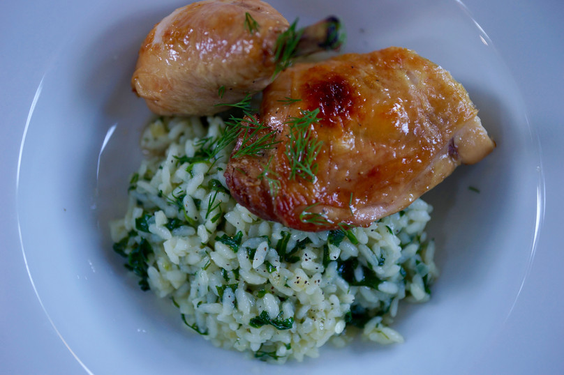 Roasted Chicken with Spinach Dill Rice