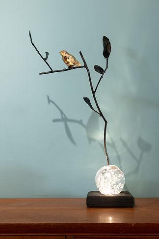 lampe oiseau métal et verre soufflé Nico
