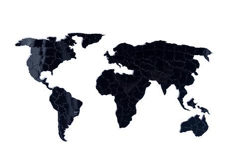 Kit Quebra Cabeça Preto Mapa Mundi (125 Peças) + Moldura
