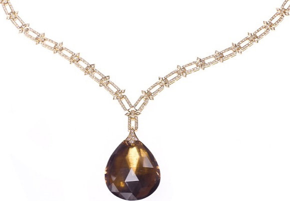 Topaz Droplet and Diamond Link Necklace