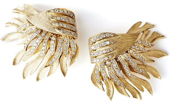 Yellow Feather and Diamond Ear Clips
