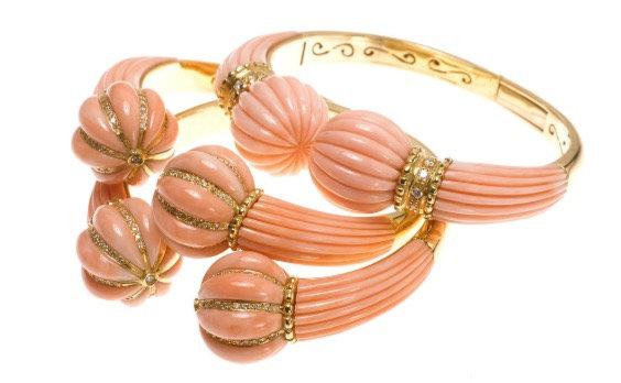 Pink Coral Diamond Neck Cuff