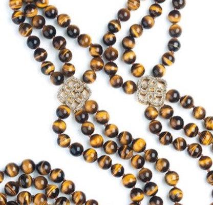 Diamond Clasp Tiger Eye Beaded Necklace