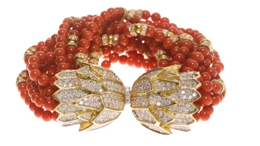 Red Coral, Diamond Clasp Bracelet