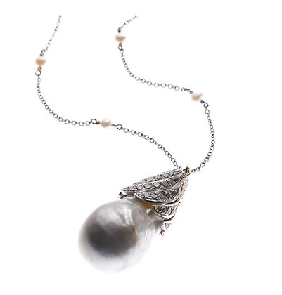 Diamond and Pearl Droplet Necklace