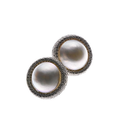 Pearl Button and Diamond Ear Clips