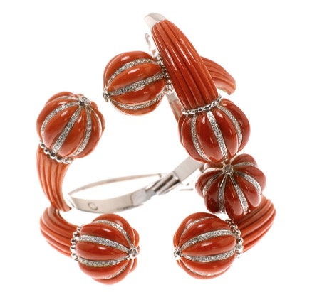 Red Coral Diamond Ball Cuff