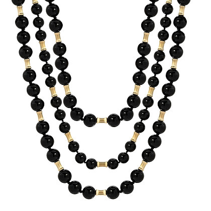 Onyx and Gold Filled Beaded Necklace