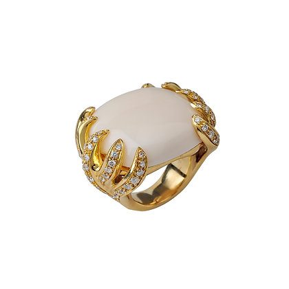 White Coral and Diamond Claw Ring
