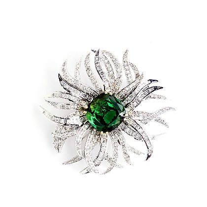 Green Tourmaline and Diamond Brooch