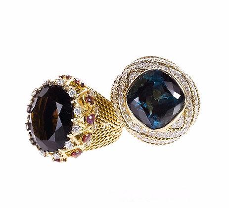 Sapphire and Diamond Braided Ring