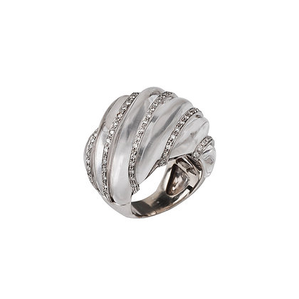 Rock Crystal and Diamond Ring