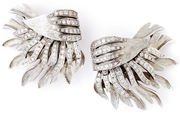 White Feather and Diamond Ear Clips