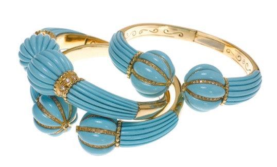 Turquoise Diamond Ball Bracelet