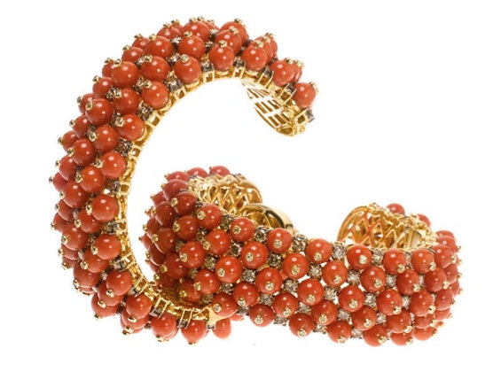 Diamond, Red Coral Multiball Cuff