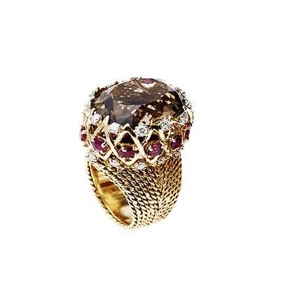 Brown Topaz, Diamond and Ruby Braided Ring