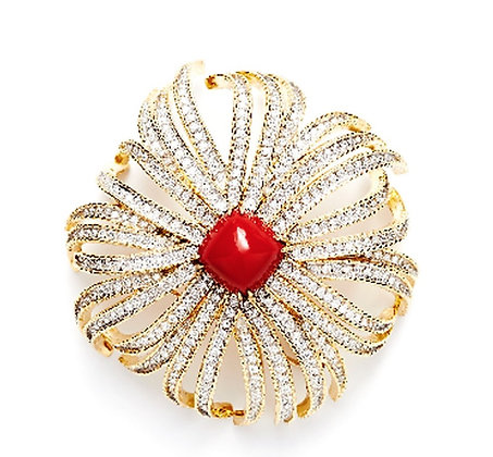 Red Coral and Diamond Flower Brooch
