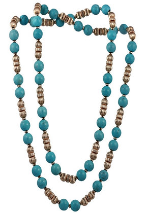 Turquoise and Gold Filled Beaded Necklace