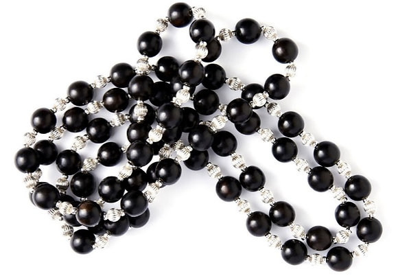 Black Onyx and Sterling Silver Beaded Necklace