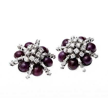 Cabochon Ruby and Diamond Ear Clips