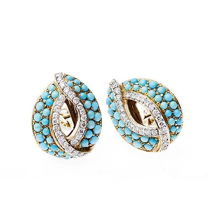 Turquoise and Diamond Oval Ear Clips