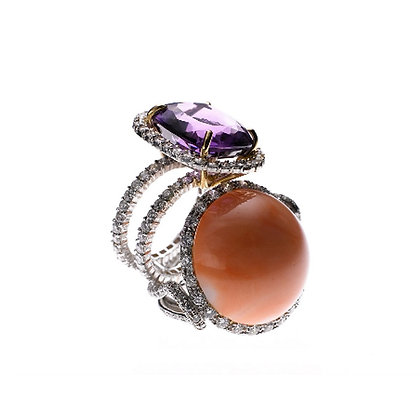 Amethyst Cushion Double Pave Ring