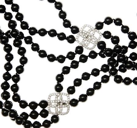 Diamond Clasp Black Onyx Three Strand Beaded Necklace