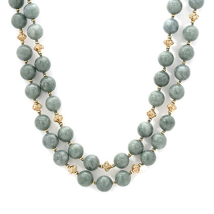 Jade and Gold Filled Beaded Necklace