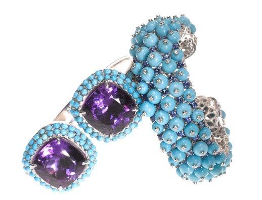 Sapphire, Turquoise and Diamond Multi Ball Cuff
