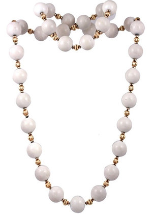 White Jade and Yellow Gold Filled Beaded Necklace