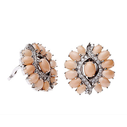Angel Skin Coral and Diamond Ear Clips