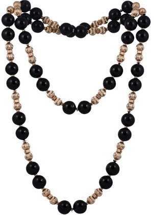 Black Onyx and Yellow Gold Filled Beaded Necklace