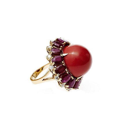 Red Coral, Diamond and Ruby Ring