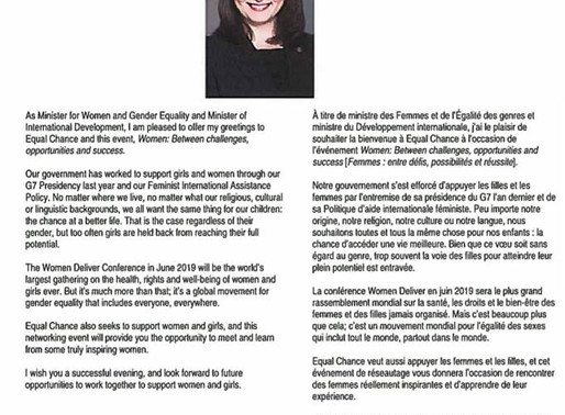 The Honorable Minister Maryam Monsef,  remarks sent for Equal Chance's May 2nd 2019 Dialogue