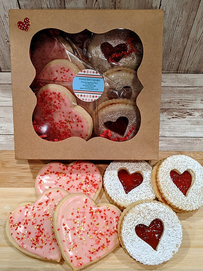 Valentine's Cookies-3 Large Frosted Sugar Cookies & 3 Strawberry Linzer Cookies