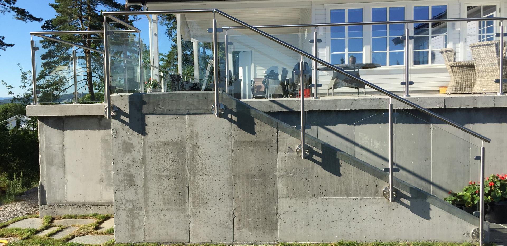 Glassrekkverk - Syrefaste 316 stolper