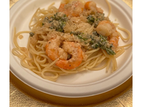 Creamy garlic and butter shrimp pasta