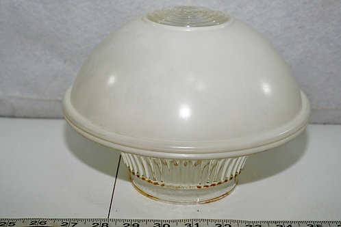 Art Deco White And Clear Glass Light Shade Globe 4in Fitter