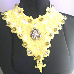 Yellow and White Crystal Lace Statement