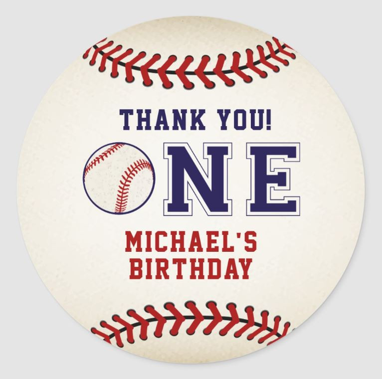 baseball birthday sticker