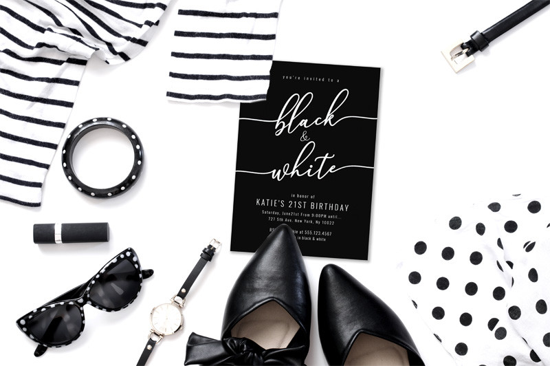 black and white themed invitations
